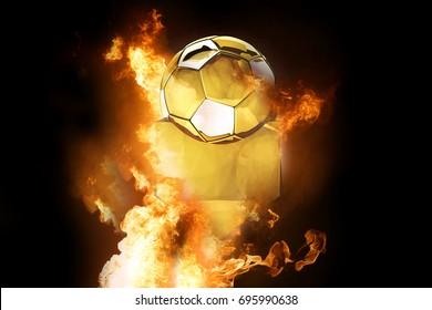 hot fire and symbol football soccer ball 3d rendering golden