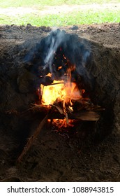 Hot flame of fire in clay oven
