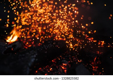 Hot flame heat fire abstract black background. concept: burn, flame, heat, lighting ,blaze ,glow, flash