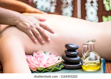 Hot fragrance oil aroma therapy massage for relaxing image concept