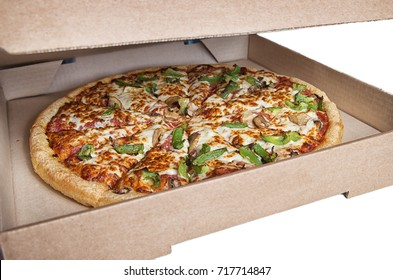 Hot fresh delicious all dressed pizza in a delivery box, ready to serve