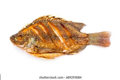hot fried fish isolated on white background
