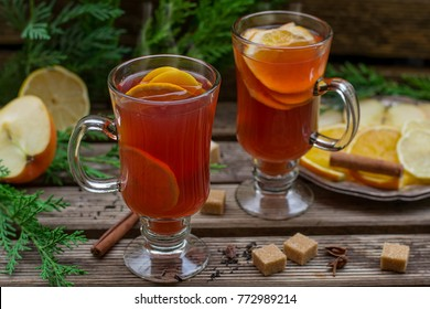 Hot fruit tea with orange, apple, lemon, raisin sultana and spices