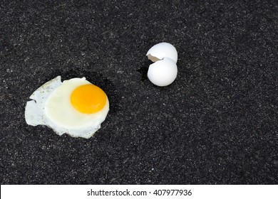 hot fry egg on pavement