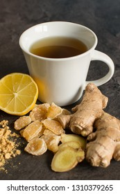 Hot ginger tea with lemon, close up