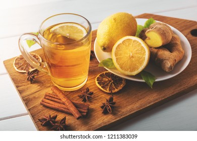 hot ginger tea with lemon. flu cold season drink