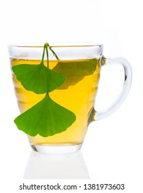 hot ginkgo tea (Ginkgo biloba) isolated on white background - front view