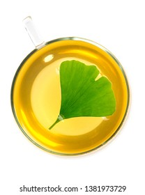hot ginkgo tea (Ginkgo biloba) isolated on white background - top view