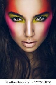 hot girl with eye shadows on face
