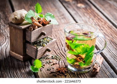 Hot green tea with ginger and cinnamon