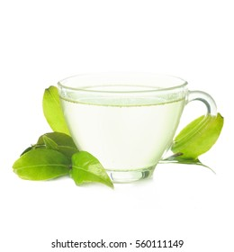 hot green tea in a glass cup on a white background
