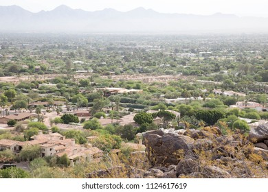 Hot and hazy view from Camelback mountain in Scottsdale, Arizona