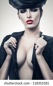 hot imperious woman in black with red lips