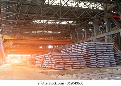 Hot ingot in a steel plant