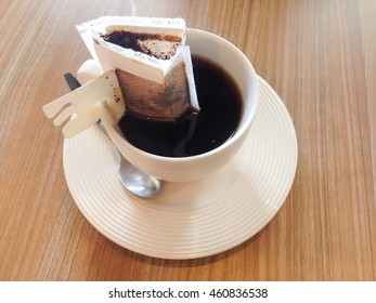 The hot instant coffee on the table