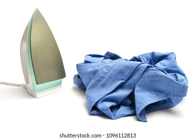 hot iron and blue shirt, on a white background