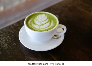hot japanese matcha green tea with latte art. delicious beverage