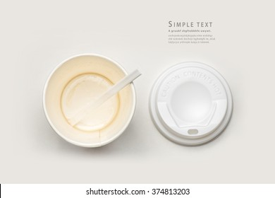 hot latte, top view, opened paper cup of coffee finish drinking, empty Coffee cup