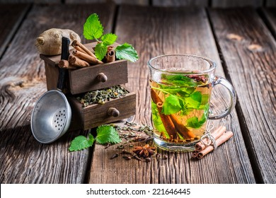 Hot leaf tea with cinnamon