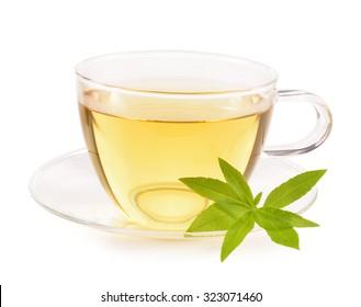 Hot lemon verbena tea and verbena leaves isolated on white background. Aloysia citrodora. Verbena herbal antioxidant tea.