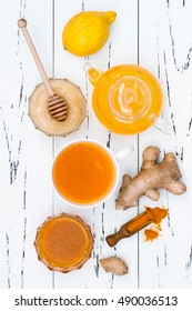 Hot lemon water with ginger, cayenne, turmeric and honey. Detox liver fat burner, immune boosting, anti inflammatory healthy drink