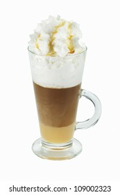Hot  Mocha coffee with whipped cream  isolated on white background