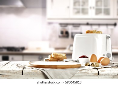Hot morning in a white kitchen with fresh toast