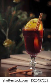 Hot mulled wine or gluhwein. Common spices used in mulled wine include cinnamon, cloves, nutmeg, anise, allspice, and vanilla. It is a traditional part of the holiday season.