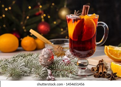 Hot mulled wine on the Christmas table.
