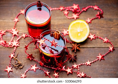 Hot mulled wine, spices and lemon