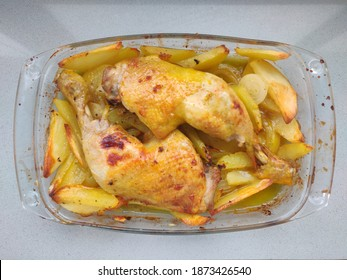 Hot oven roasted chicken legs.