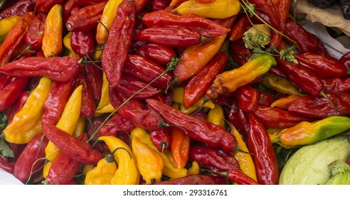 Hot peppers (aji limo) in a peruvian market.
