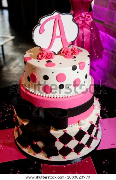 Surprising Hot Pink Black Birthday Cake Stock Photo Edit Now 1083023999 Birthday Cards Printable Inklcafe Filternl