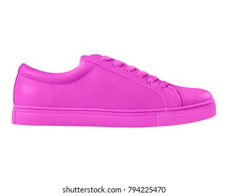Hot pink fuchsia sneaker sport shoe side view isolated on white background