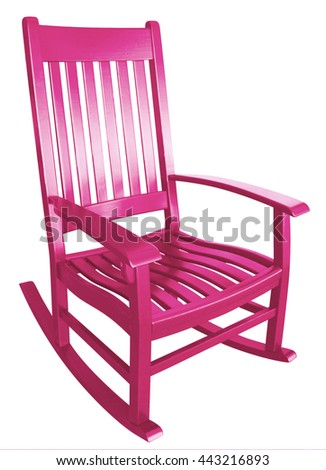 Hot Pink Rocking Chair Facing Right On A Porch Isolated Painted Wood  Country Relaxing Beach Furniture