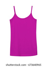 Hot pink underwear sleeveless empty summer t shirt camisole isolated on white