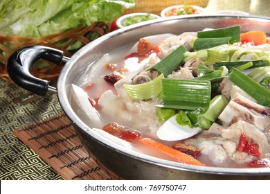 hot pot cuisine with meat