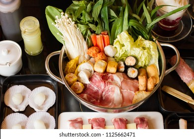 Hot pot with meat with Vegetable.