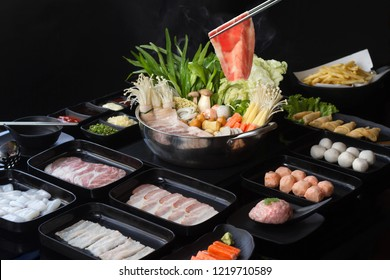 Hot Pot with Other components on table background.