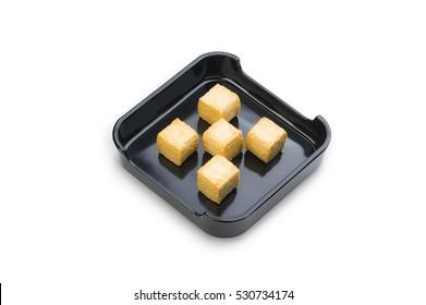 Hot Pot, shabu, Sukiyaki Fresh Tufu on dish isolated on white background