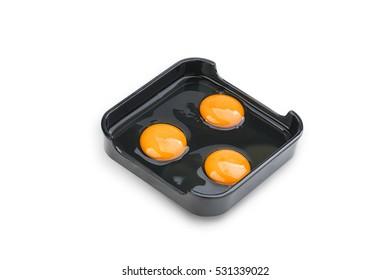 Hot Pot, Shabu, Sukiyaki Fresh Raw Eggs on dish  isolated on white background