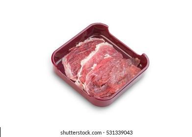 Hot Pot, shabu, Sukiyaki Fresh Beef pork slices on dish  isolated on white background