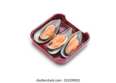 Hot Pot, shabu, Sukiyaki Fresh a sea mussel on dish isolated on white background