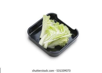 Hot Pot, shabu, Sukiyaki Fresh Chinese Cabbage on dish isolated on white background