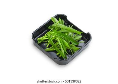 Hot Pot, shabu, Sukiyaki Fresh Water spinach Kangkung on dish isolated on white background