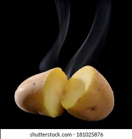 Hot potatoes isolated on black background.Boiled potatoes.