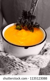 Hot pumpkin soup. A traditional autumn dish.