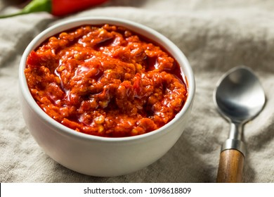 Hot Red Calabrian Pepper Sauce Spread in a Bowl