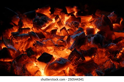 Hot red charcoals in bonefire. Night. Dahab. Sinai. Egypt.