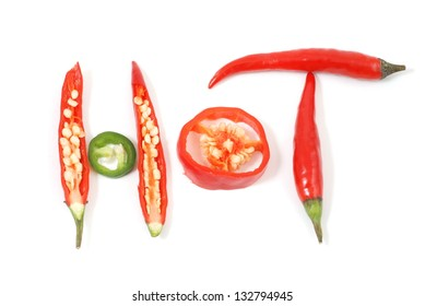 hot red chili peppers isolated on a white background